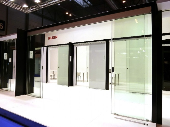Not cias klein showcases its sliding door systems at for Sliding glass doors germany